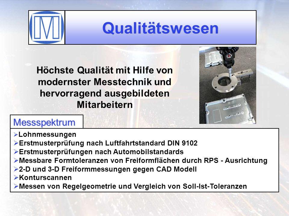 Qualitätswesen Höchste Qualität mit Hilfe von modernster Messtechnik und hervorragend ausgebildeten Mitarbeitern Messspektrum Lohnmessungen Erstmuster