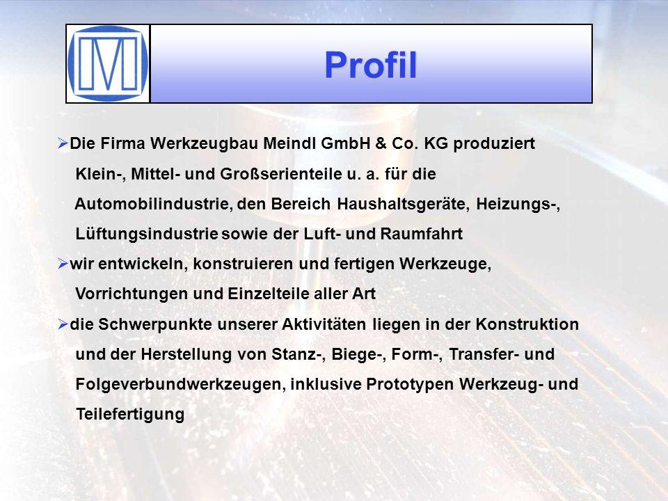 Profil Die Firma Werkzeugbau Meindl GmbH & Co. KG produziert Klein-, Mittel- und Großserienteile u. a. für die Automobilindustrie, den Bereich Haushal