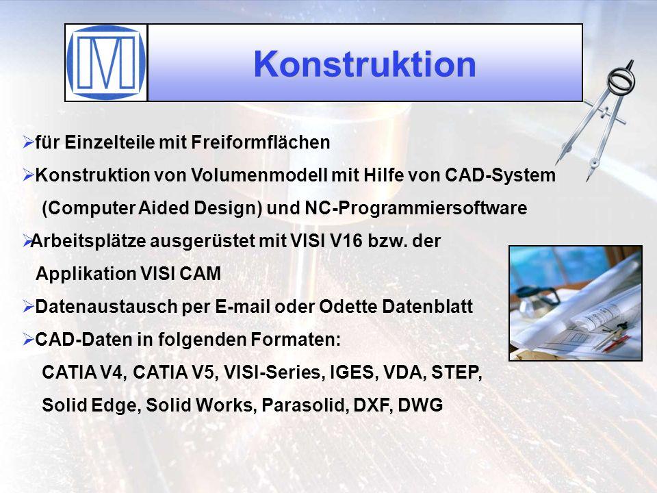 Konstruktion für Einzelteile mit Freiformflächen Konstruktion von Volumenmodell mit Hilfe von CAD-System (Computer Aided Design) und NC-Programmiersof