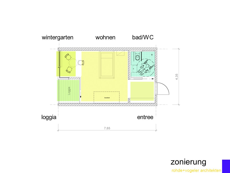 rohde+vogeler architekten zonierung wohnenwintergarten loggia bad/WC entree