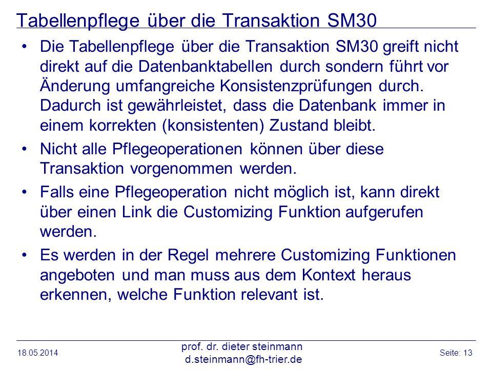 Tabellenpflege über die Transaktion SM30 Die Tabellenpflege über die Transaktion SM30 greift nicht direkt auf die Datenbanktabellen durch sondern führ