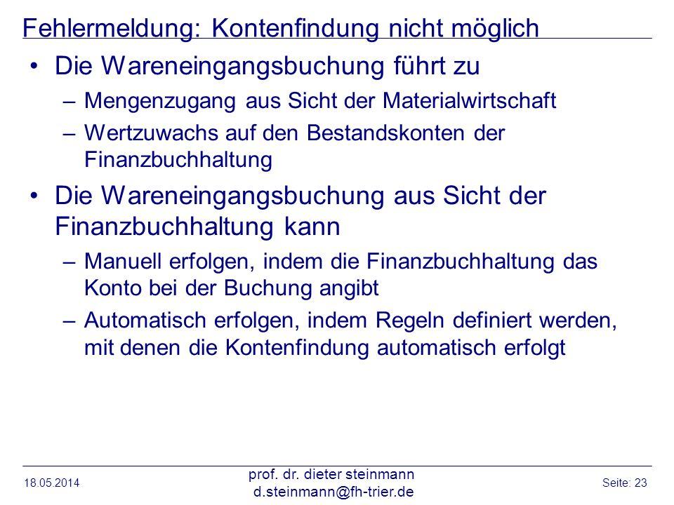 Fehlermeldung: Kontenfindung nicht möglich Die Wareneingangsbuchung führt zu –Mengenzugang aus Sicht der Materialwirtschaft –Wertzuwachs auf den Besta