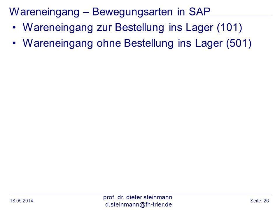 Wareneingang – Bewegungsarten in SAP Wareneingang zur Bestellung ins Lager (101) Wareneingang ohne Bestellung ins Lager (501) 18.05.2014 prof. dr. die