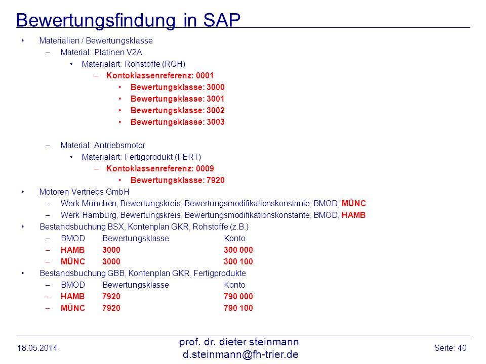 Bewertungsfindung in SAP Materialien / Bewertungsklasse –Material: Platinen V2A Materialart: Rohstoffe (ROH) –Kontoklassenreferenz: 0001 Bewertungskla