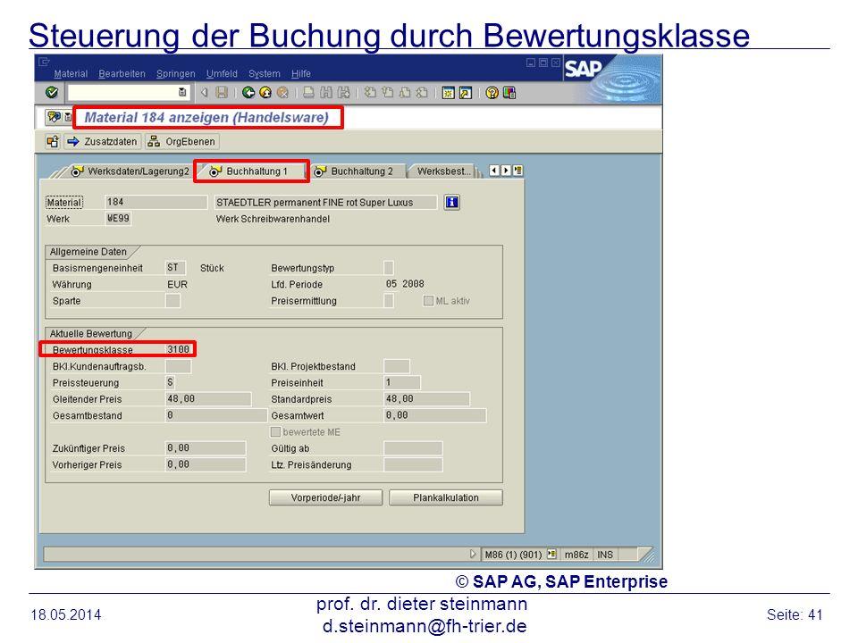 Steuerung der Buchung durch Bewertungsklasse 18.05.2014 prof. dr. dieter steinmann d.steinmann@fh-trier.de Seite: 41 © SAP AG, SAP Enterprise