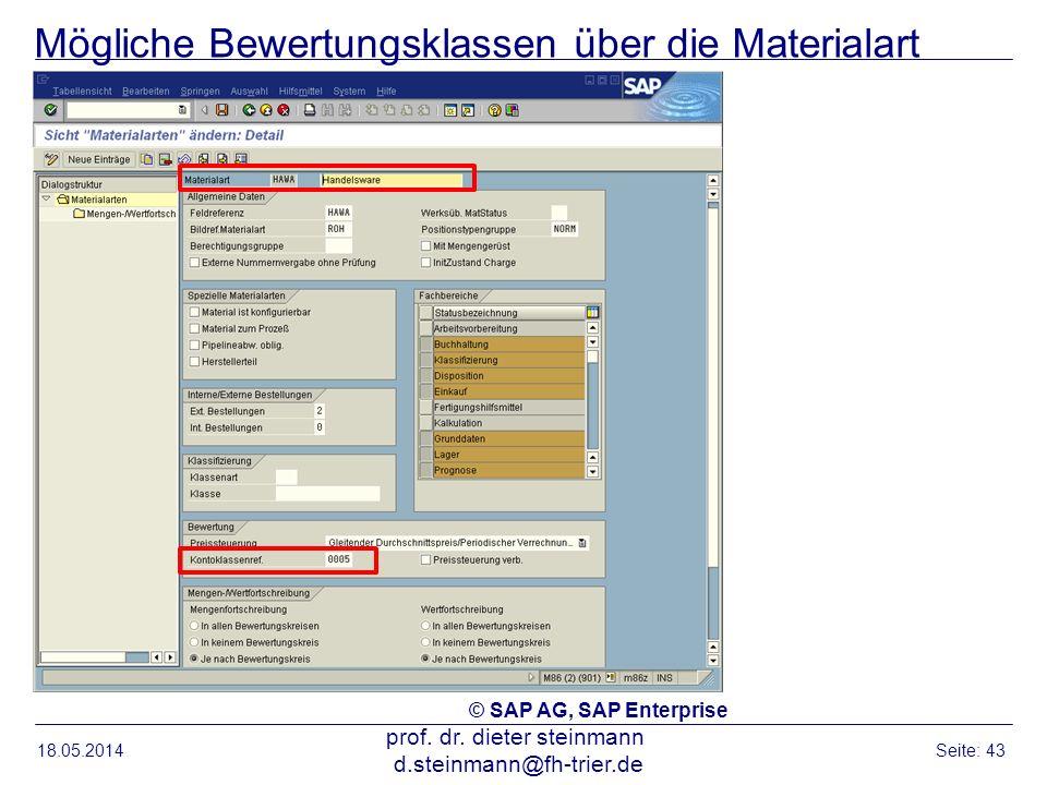 Mögliche Bewertungsklassen über die Materialart 18.05.2014 prof. dr. dieter steinmann d.steinmann@fh-trier.de Seite: 43 © SAP AG, SAP Enterprise