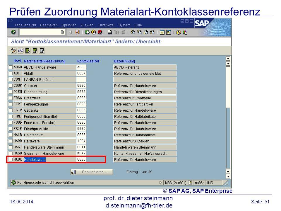 Prüfen Zuordnung Materialart-Kontoklassenreferenz 18.05.2014 prof. dr. dieter steinmann d.steinmann@fh-trier.de Seite: 51 © SAP AG, SAP Enterprise
