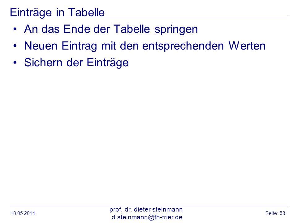 Einträge in Tabelle An das Ende der Tabelle springen Neuen Eintrag mit den entsprechenden Werten Sichern der Einträge 18.05.2014 prof. dr. dieter stei