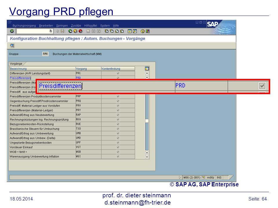 Vorgang PRD pflegen 18.05.2014 prof. dr. dieter steinmann d.steinmann@fh-trier.de Seite: 64 © SAP AG, SAP Enterprise