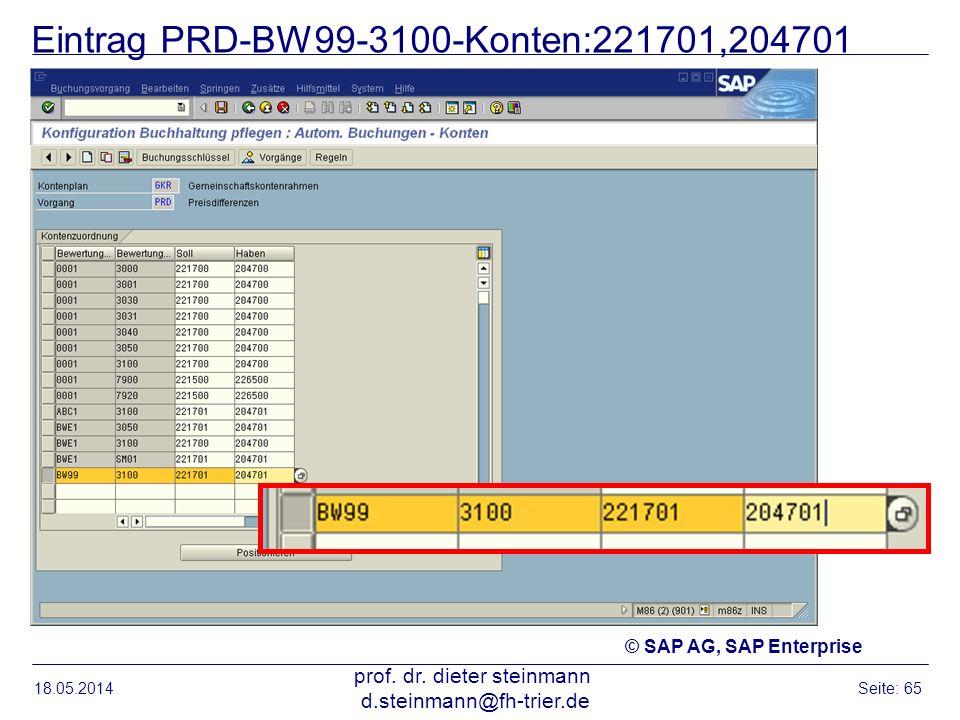 Eintrag PRD-BW99-3100-Konten:221701,204701 18.05.2014 prof. dr. dieter steinmann d.steinmann@fh-trier.de Seite: 65 © SAP AG, SAP Enterprise