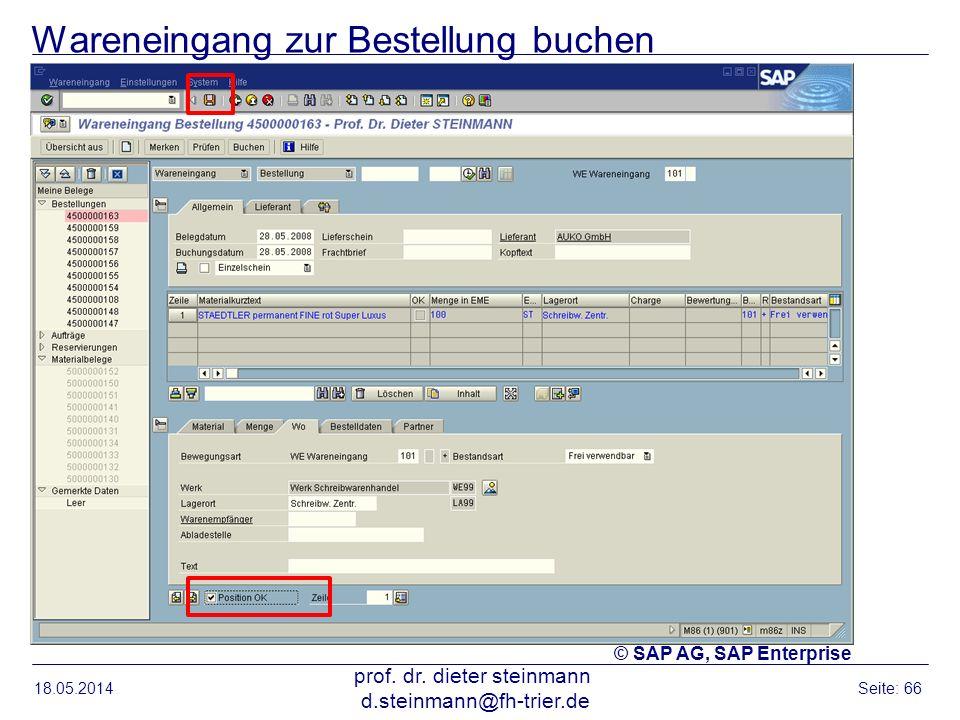 Wareneingang zur Bestellung buchen 18.05.2014 prof. dr. dieter steinmann d.steinmann@fh-trier.de Seite: 66 © SAP AG, SAP Enterprise