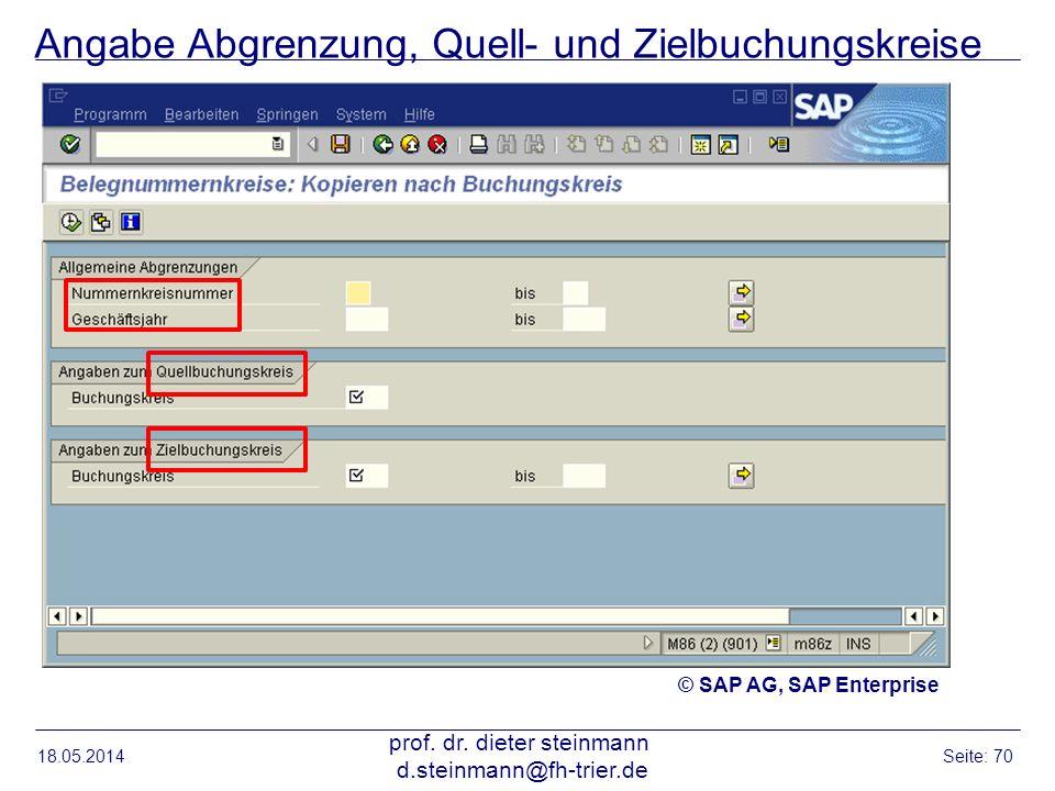 Angabe Abgrenzung, Quell- und Zielbuchungskreise 18.05.2014 prof. dr. dieter steinmann d.steinmann@fh-trier.de Seite: 70 © SAP AG, SAP Enterprise