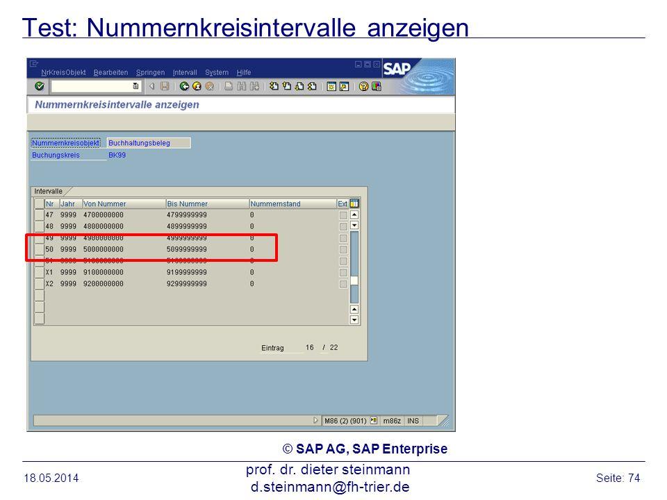 Test: Nummernkreisintervalle anzeigen 18.05.2014 prof. dr. dieter steinmann d.steinmann@fh-trier.de Seite: 74 © SAP AG, SAP Enterprise