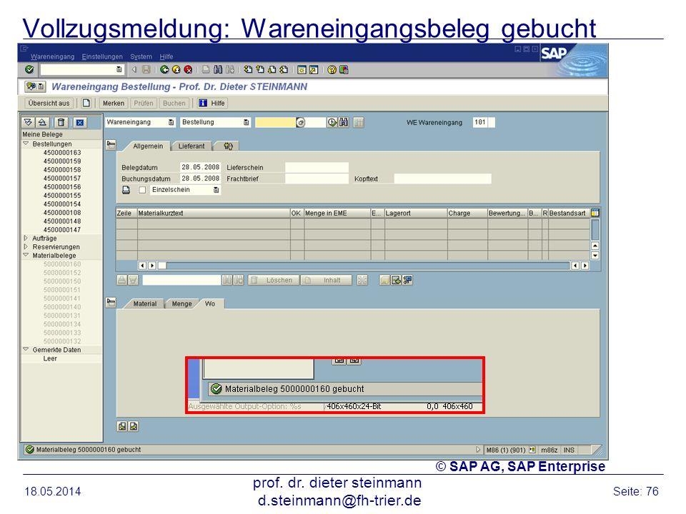 Vollzugsmeldung: Wareneingangsbeleg gebucht 18.05.2014 prof. dr. dieter steinmann d.steinmann@fh-trier.de Seite: 76 © SAP AG, SAP Enterprise