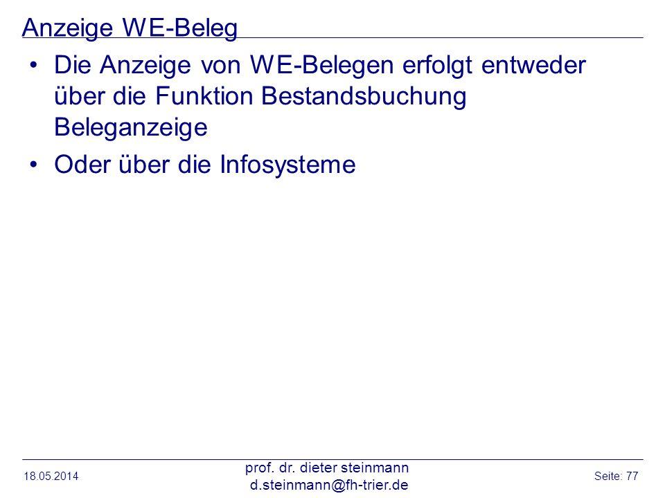 Anzeige WE-Beleg Die Anzeige von WE-Belegen erfolgt entweder über die Funktion Bestandsbuchung Beleganzeige Oder über die Infosysteme 18.05.2014 prof.