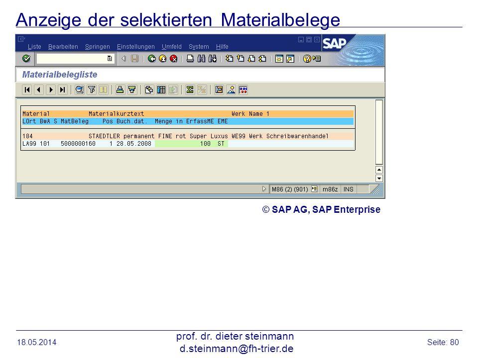Anzeige der selektierten Materialbelege 18.05.2014 prof. dr. dieter steinmann d.steinmann@fh-trier.de Seite: 80 © SAP AG, SAP Enterprise
