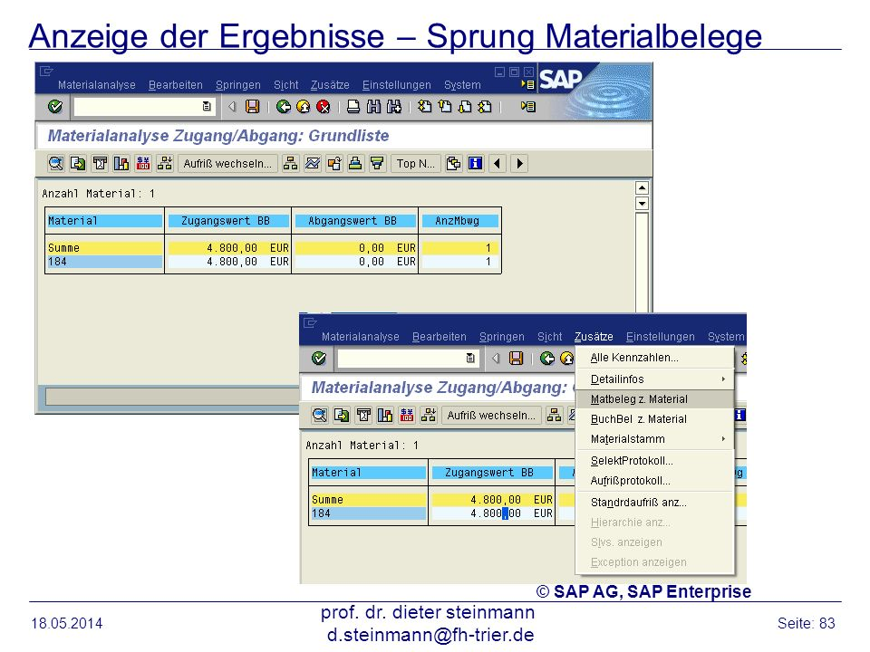 Anzeige der Ergebnisse – Sprung Materialbelege 18.05.2014 prof. dr. dieter steinmann d.steinmann@fh-trier.de Seite: 83 © SAP AG, SAP Enterprise