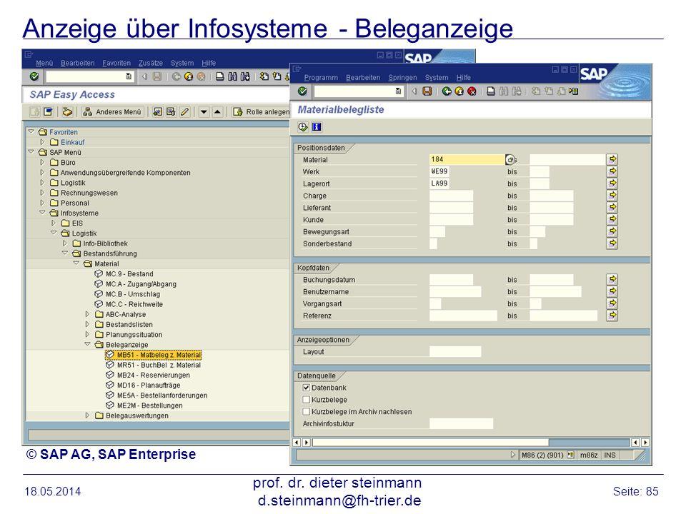 Anzeige über Infosysteme - Beleganzeige 18.05.2014 prof. dr. dieter steinmann d.steinmann@fh-trier.de Seite: 85 © SAP AG, SAP Enterprise