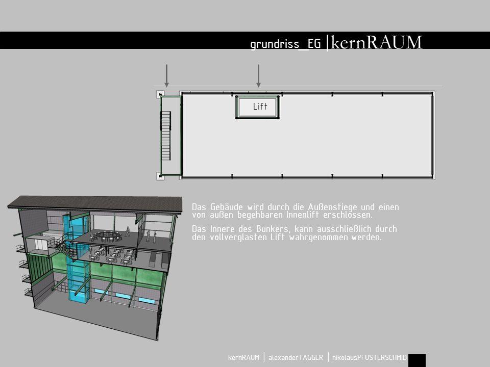 grundriss_EG | kernRAUM | alexanderTAGGER | nikolausPFUSTERSCHMID Lift kernRAUM Das Gebäude wird durch die Außenstiege und einen von außen begehbaren Innenlift erschlossen.