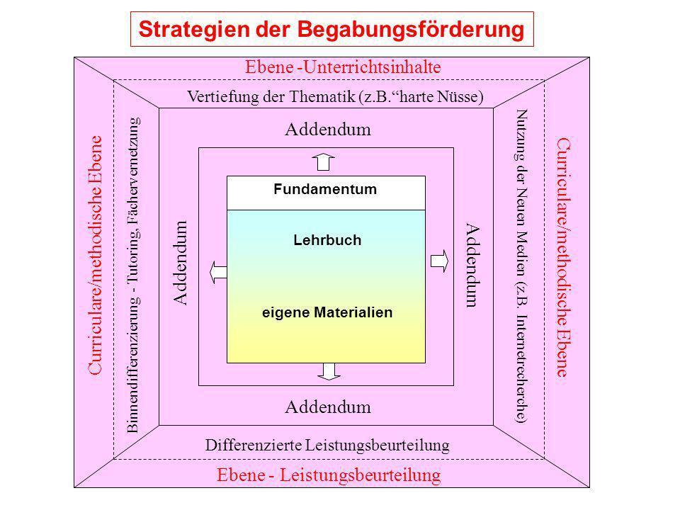 Strategien der Begabungsförderung Addendum Ebene -Unterrichtsinhalte Vertiefung der Thematik (z.B.harte Nüsse) Ebene - Leistungsbeurteilung Differenzi
