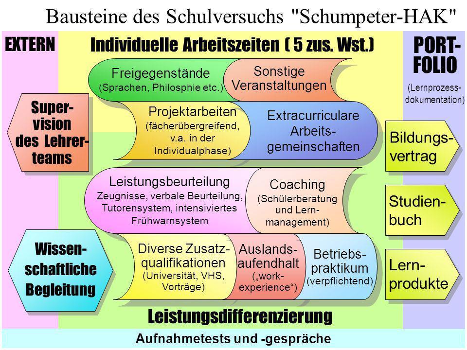 Individuelle Arbeitszeiten ( 5 zus. Wst.) Leistungsdifferenzierung EXTERN Bausteine des Schulversuchs