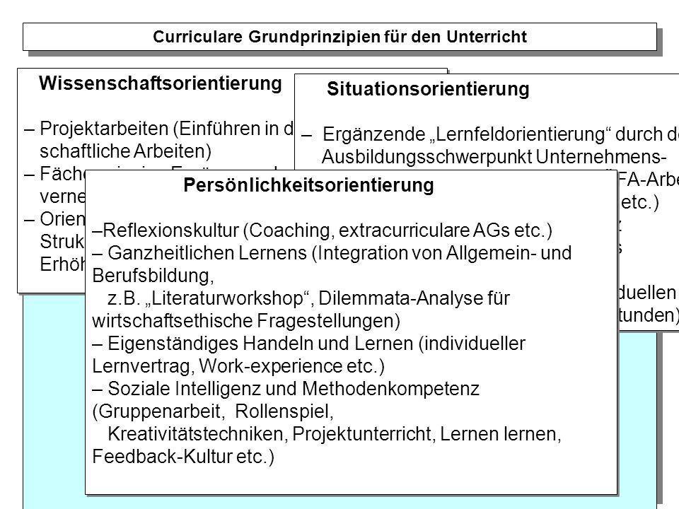 Wissenschaftsorientierung – Projektarbeiten (Einführen in das wissen- schaftliche Arbeiten) – Fächerprinzip - Ergänzung durch Fächer- vernetzung und f
