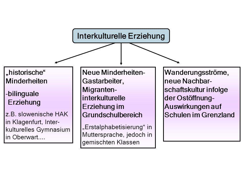 historische Minderheiten -bilinguale Erziehung z.B. slowenische HAK in Klagenfurt, Inter- kulturelles Gymnasium in Oberwart.... Neue Minderheiten- Gas