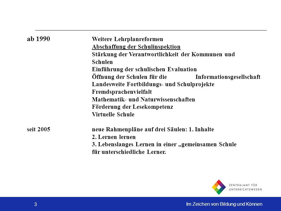 3 Im Zeichen von Bildung und Können ab 1990 Weitere Lehrplanreformen Abschaffung der Schulinspektion Stärkung der Verantwortlichkeit der Kommunen und