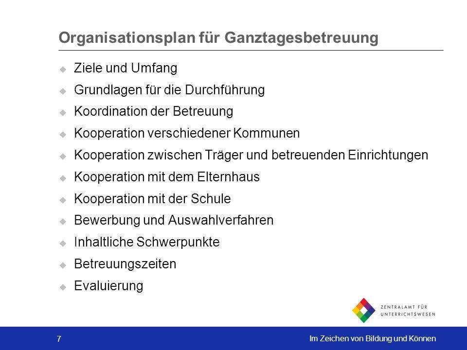 7 Im Zeichen von Bildung und Können Organisationsplan für Ganztagesbetreuung Ziele und Umfang Grundlagen für die Durchführung Koordination der Betreuu