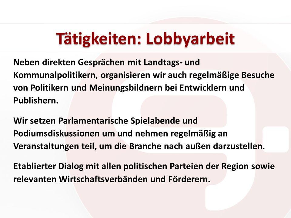 Tätigkeiten: Lobbyarbeit Neben direkten Gesprächen mit Landtags- und Kommunalpolitikern, organisieren wir auch regelmäßige Besuche von Politikern und Meinungsbildnern bei Entwicklern und Publishern.