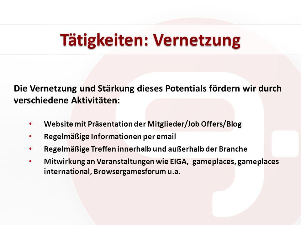 Tätigkeiten: Vernetzung Die Vernetzung und Stärkung dieses Potentials fördern wir durch verschiedene Aktivitäten: Website mit Präsentation der Mitglie
