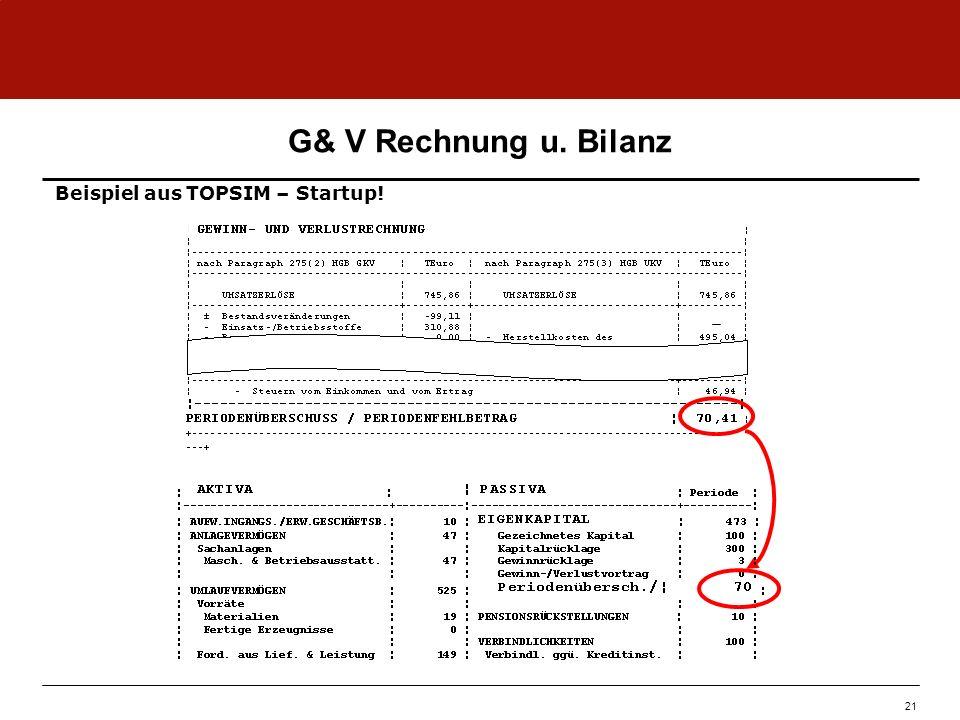 G& V Rechnung u. Bilanz Beispiel aus TOPSIM – Startup! 21