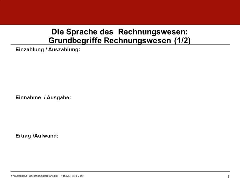 FH Landshut - Unternehmensplanspiel - Prof. Dr. Petra Denk 5 Die Sprache des Rechnungswesen: Grundbegriffe Rechnungswesen (1/2) Einzahlung / Auszahlun