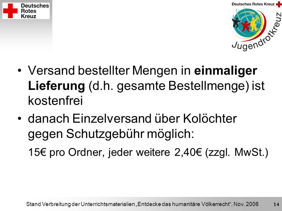 Stand Verbreitung der Unterrichtsmaterialien Entdecke das humanitäre Völkerrecht, Nov. 2006 14 Versand bestellter Mengen in einmaliger Lieferung (d.h.