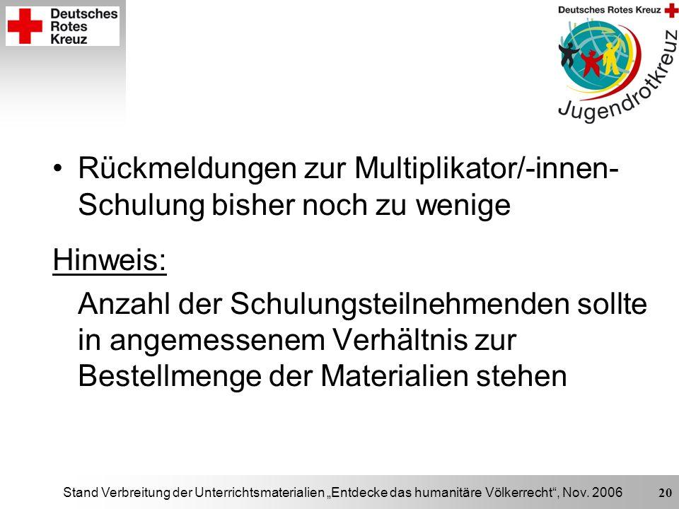 Stand Verbreitung der Unterrichtsmaterialien Entdecke das humanitäre Völkerrecht, Nov. 2006 20 Rückmeldungen zur Multiplikator/-innen- Schulung bisher