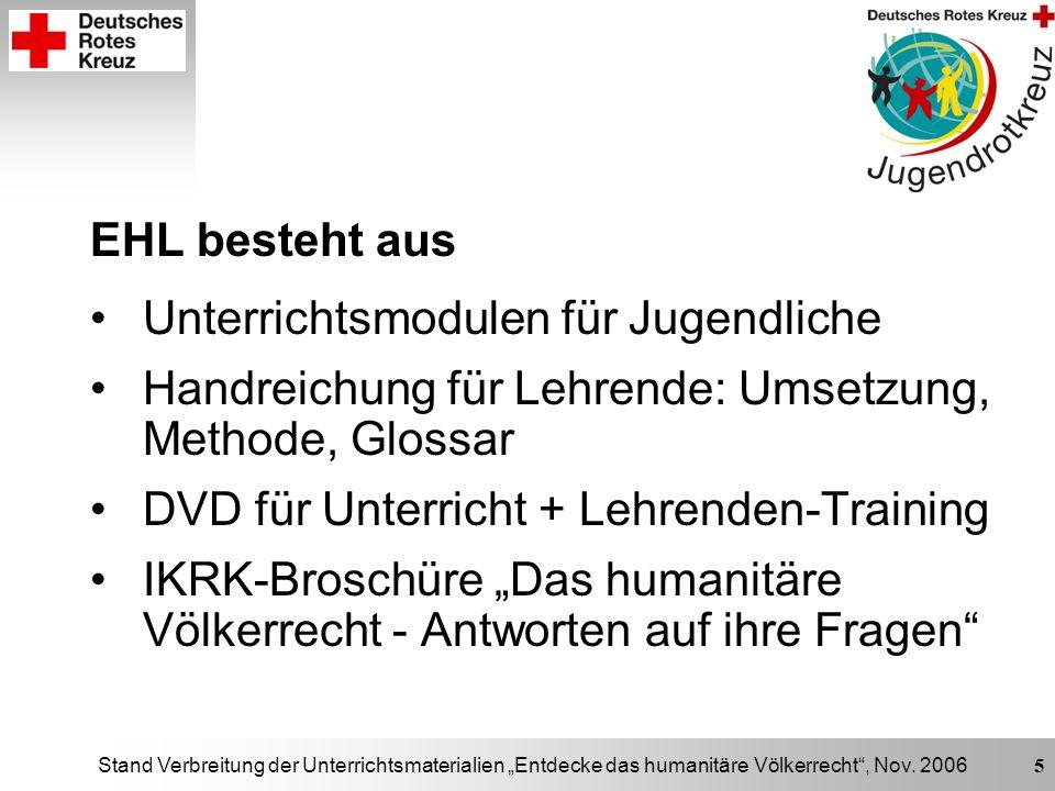 Stand Verbreitung der Unterrichtsmaterialien Entdecke das humanitäre Völkerrecht, Nov. 2006 5 EHL besteht aus Unterrichtsmodulen für Jugendliche Handr