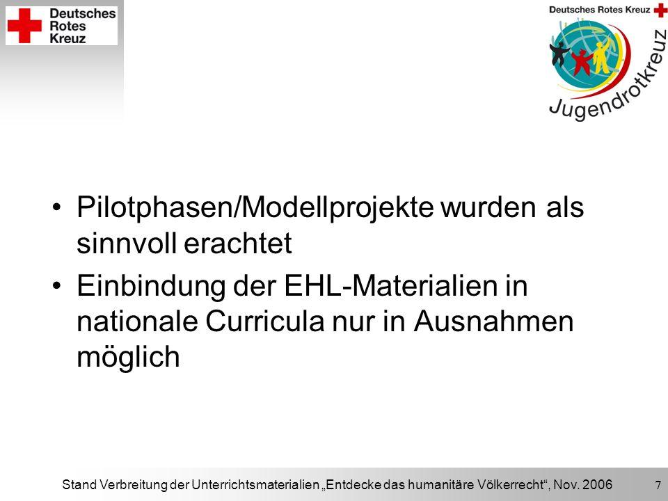 Stand Verbreitung der Unterrichtsmaterialien Entdecke das humanitäre Völkerrecht, Nov. 2006 7 Pilotphasen/Modellprojekte wurden als sinnvoll erachtet