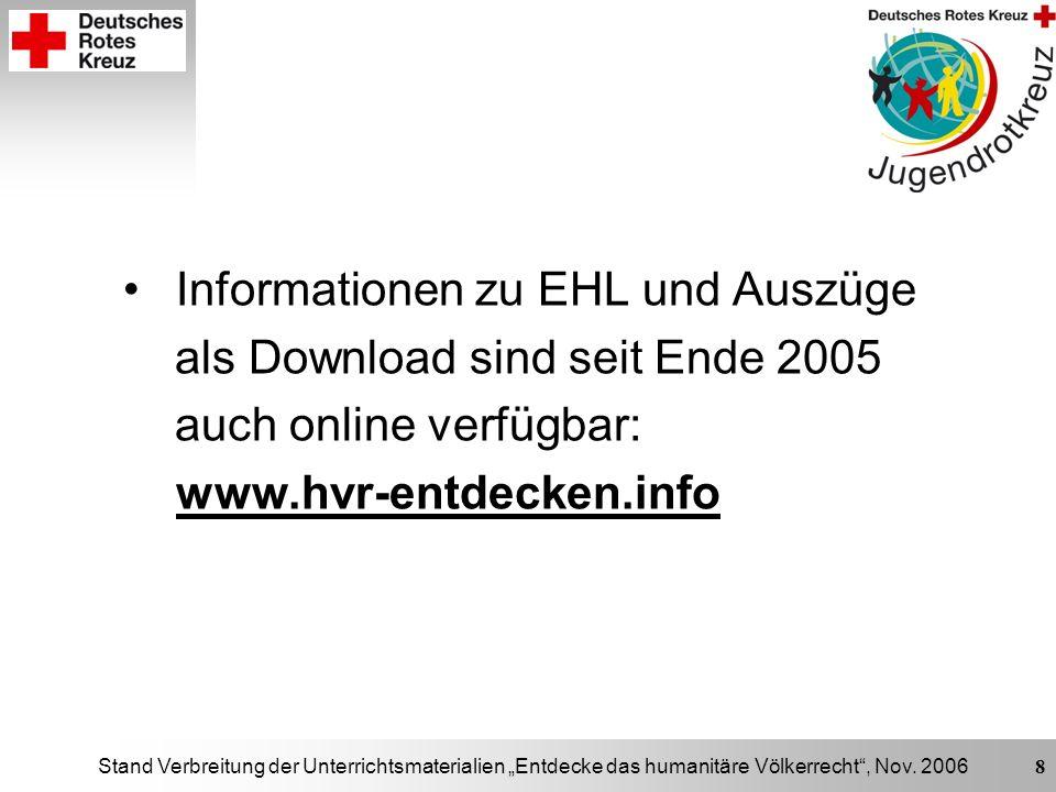 Stand Verbreitung der Unterrichtsmaterialien Entdecke das humanitäre Völkerrecht, Nov. 2006 8 Informationen zu EHL und Auszüge als Download sind seit