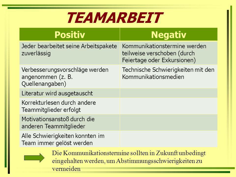 TEAMARBEIT PositivNegativ Jeder bearbeitet seine Arbeitspakete zuverlässig Kommunikationstermine werden teilweise verschoben (durch Feiertage oder Exk