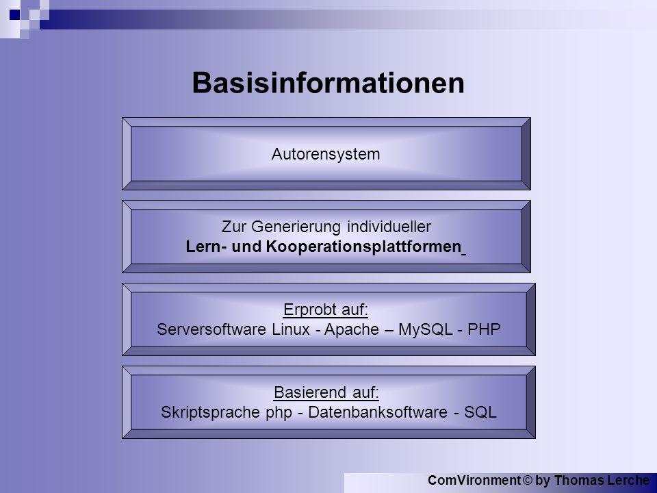 ComVironment © by Thomas Lerche Basisinformationen Basierend auf: Skriptsprache php - Datenbanksoftware - SQL Autorensystem Zur Generierung individueller Lern- und Kooperationsplattformen Erprobt auf: Serversoftware Linux - Apache – MySQL - PHP