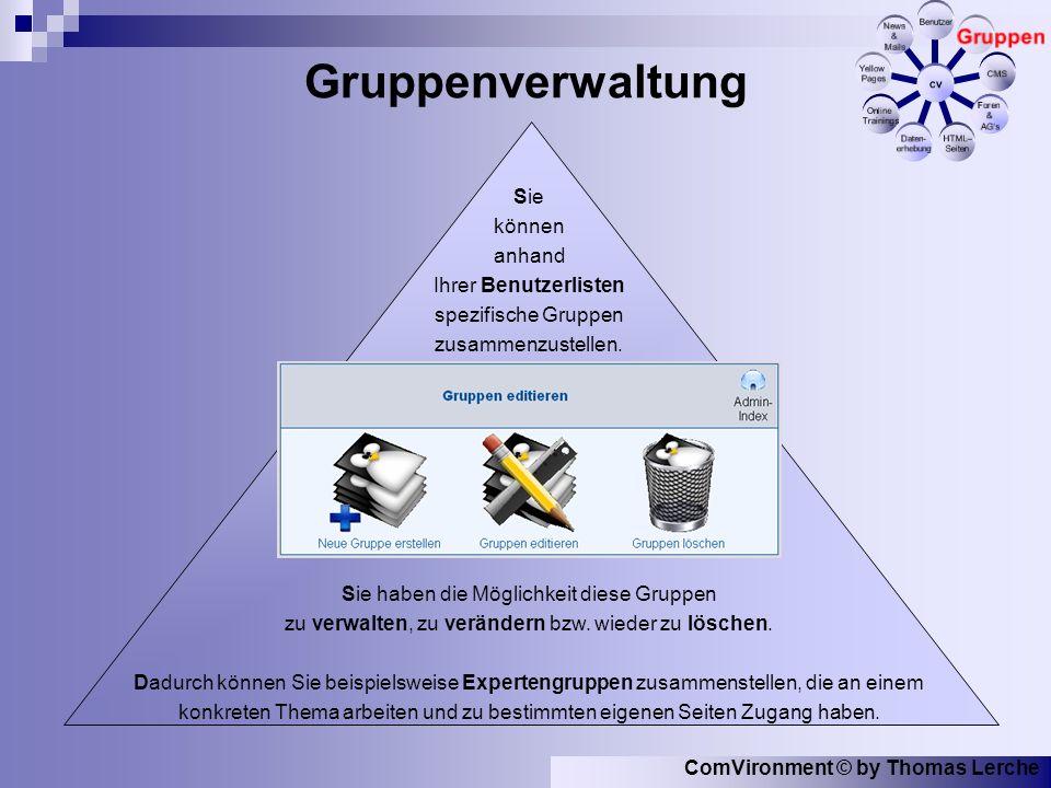 ComVironment © by Thomas Lerche Gruppenverwaltung Sie können anhand Ihrer Benutzerlisten spezifische Gruppen zusammenzustellen.