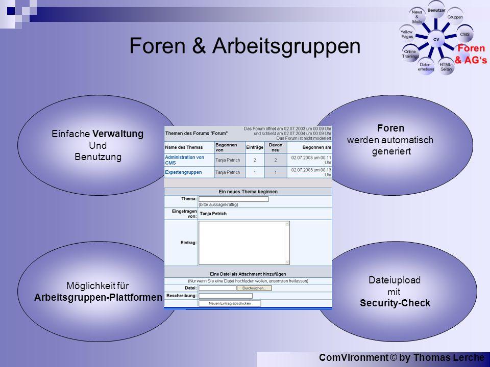 ComVironment © by Thomas Lerche Foren & Arbeitsgruppen Foren werden automatisch generiert Dateiupload mit Security-Check Einfache Verwaltung Und Benutzung Möglichkeit für Arbeitsgruppen-Plattformen