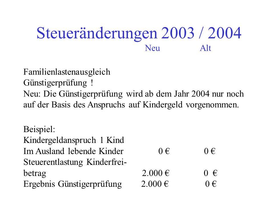 Steueränderungen 2003 / 2004 NeuAlt Sparerfreibetrag bei Kapitalvermögen 1.370 1.550 bzw. bei Ehegatten 2.740 3.100 Änderung bei der Bank vornehmen !!