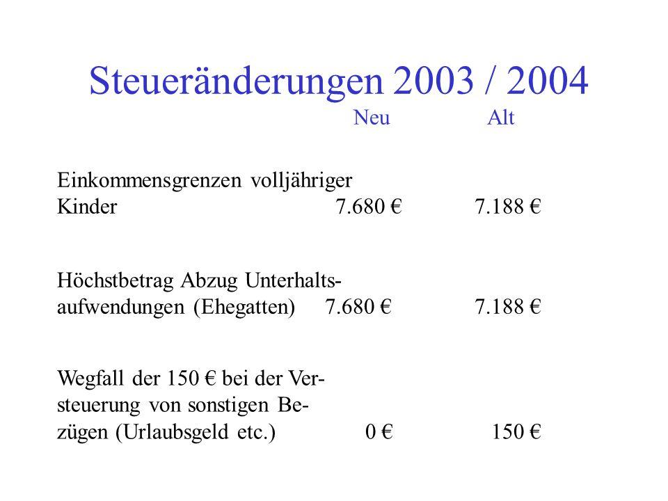 Steueränderungen 2003 / 2004 NeuAlt sonstiger Bezug Fünftelregelung ! Neu: Die Regelung führt nunmehr zur Anpassung der Lohnsteuerberechnung an die Ei