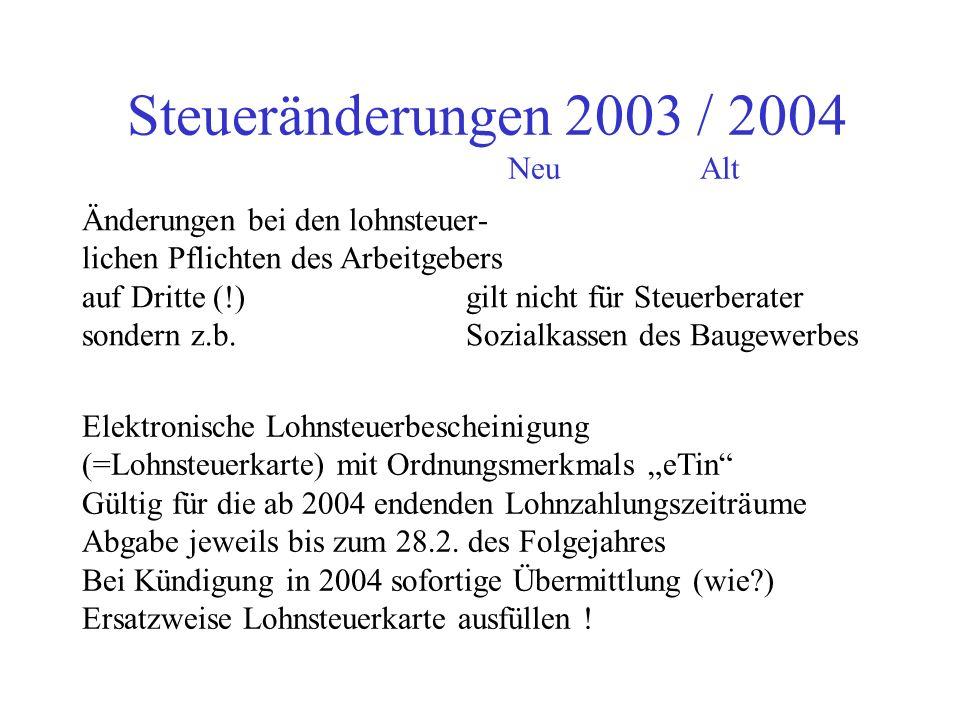 Steueränderungen 2003 / 2004 NeuAlt Einkommensgrenzen volljähriger Kinder 7.680 7.188 Höchstbetrag Abzug Unterhalts- aufwendungen (Ehegatten) 7.680 7.