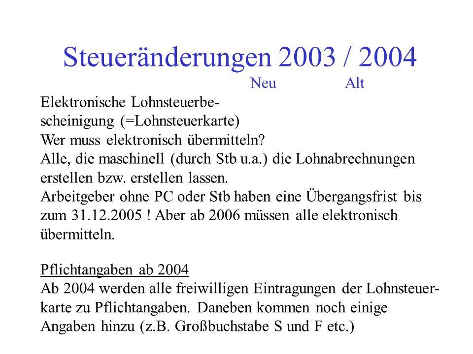 Steueränderungen 2003 / 2004 NeuAlt Änderungen bei den lohnsteuer- lichen Pflichten des Arbeitgebers auf Dritte (!)gilt nicht für Steuerberater sonder