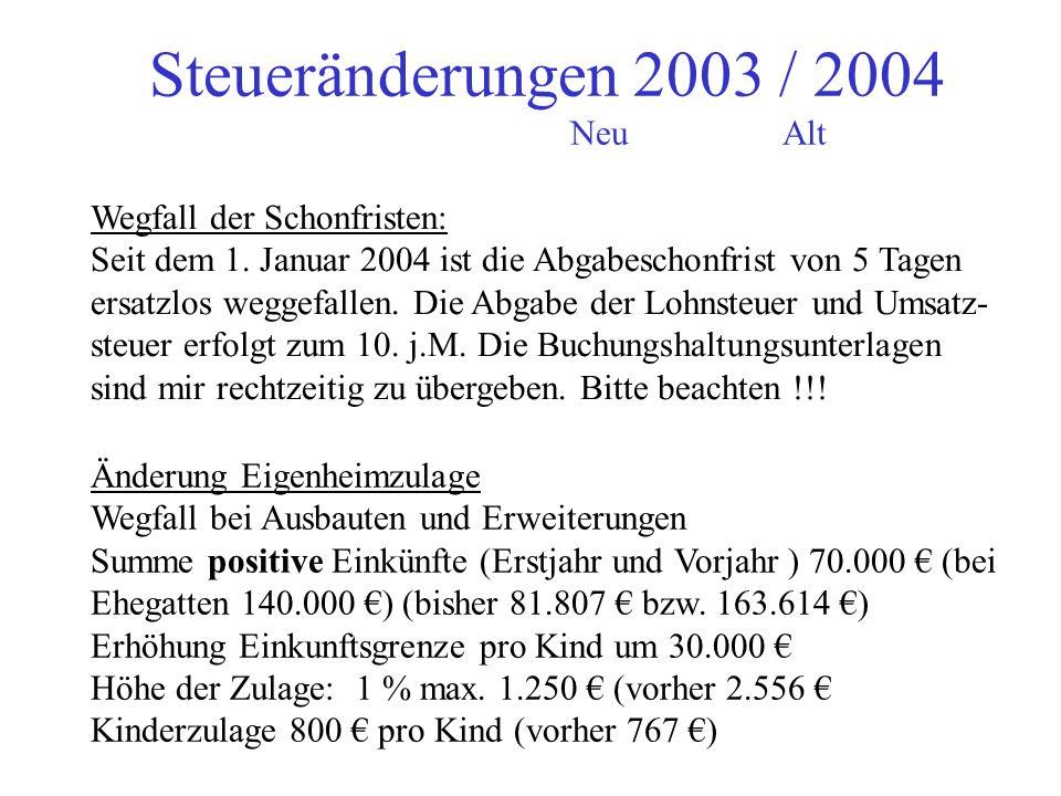 Steueränderungen 2003 / 2004 NeuAlt Lohnsteuerkarten ab 2005 Gemeinde stellen noch weiterhin Lohnsteuerkarten aus ! Arbeitgeber muss einen Ausdruck de