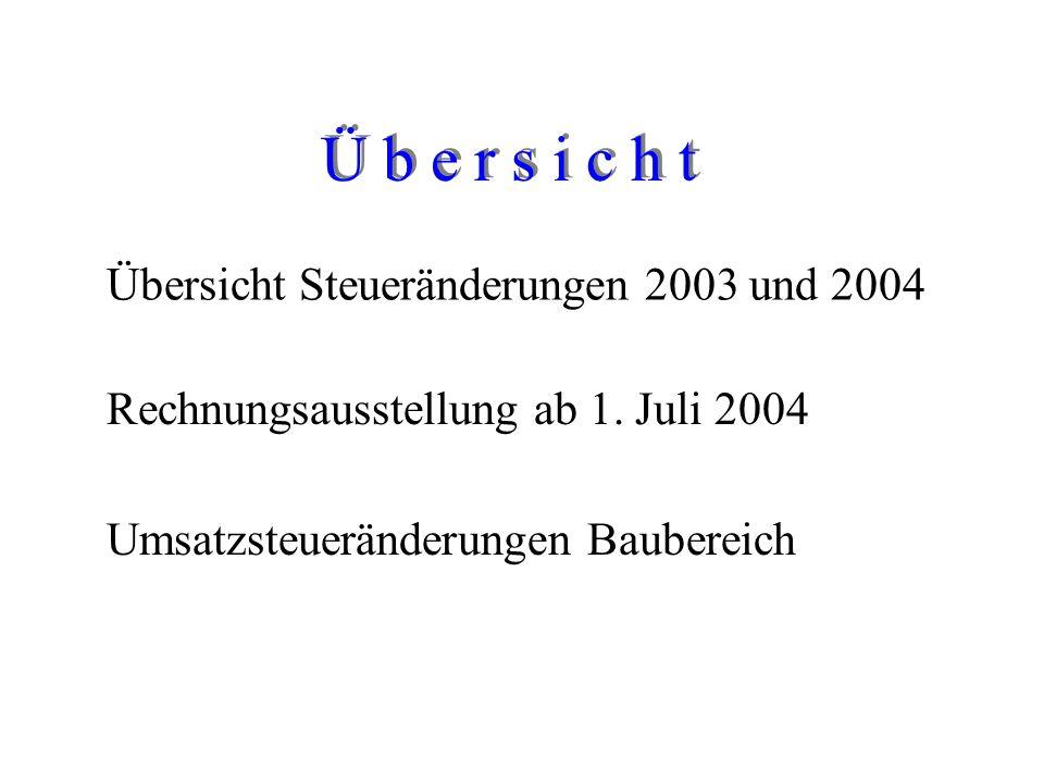 Ü b e r s i c h t Übersicht Steueränderungen 2003 und 2004 Rechnungsausstellung ab 1.
