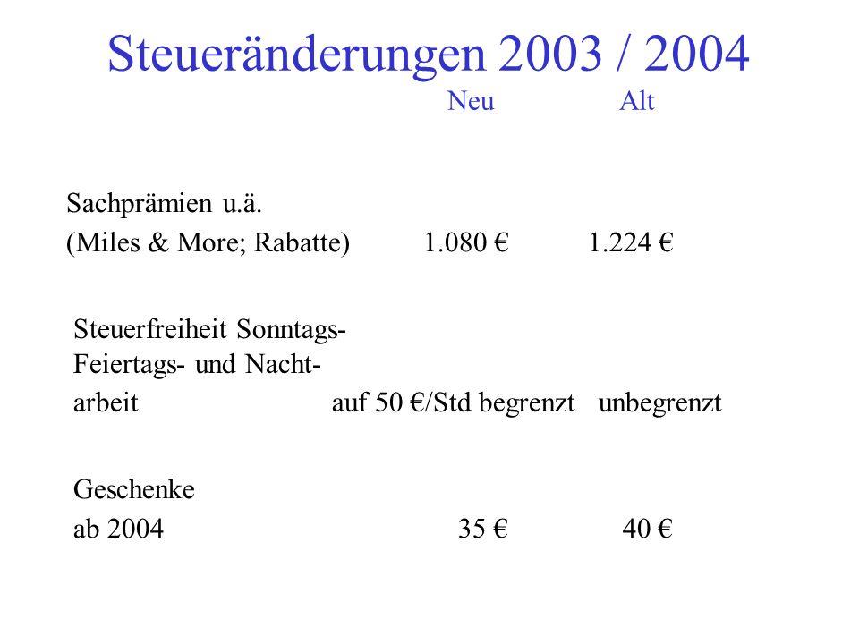 Heirats- und Geburts- beihilfen 315 358 Freibetrag Übergangsgelder wg. Entlassung 10.800 12.271 Steueränderungen 2003 / 2004 NeuAlt Fahrtkostenzuschüs