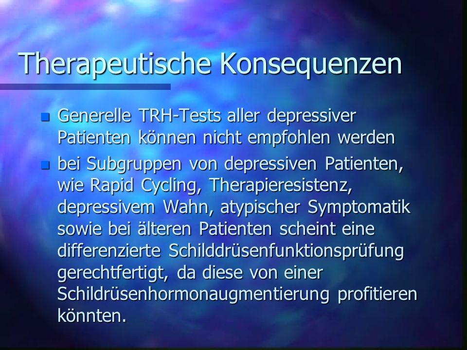 Zur Häufigkeit latenter Schildrüsenfunktionsstörungen bei depressiven Patienten nach stationärerAufnahme (Quelle: König, Nervenarzt 1998) n n=86, t=2